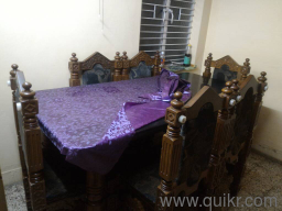 6 Seater Pure Teak Wood Hand Crafted Design Dining Table