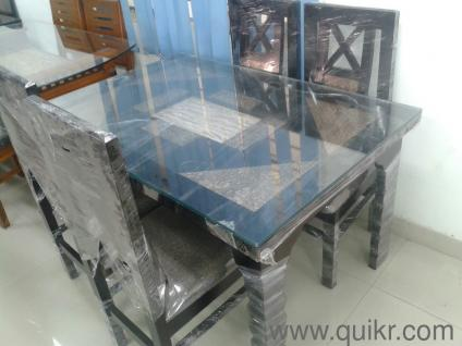 You don t have to lift a finger Glass Top 4 Seater Dining Table   Almost Home   Office Furniture  . Glass Dining Table With 4 Chairs In Hyderabad. Home Design Ideas