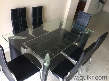 Almost New 15 Years High Quality Branded 6 Seater Glasstop Dining Table For Sale