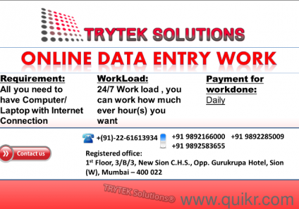 work from home data entry job in mumbai